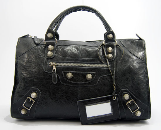Balenciaga 084324A Dark grey Le Dix Motorcycle Handbag Large Size