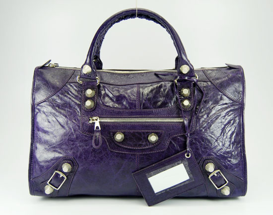 Balenciaga 084324A Dark Purple Le Dix Motorcycle Handbag Large Size