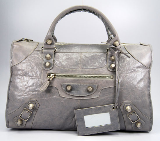 Balenciaga 084324A Light gray Le Dix Motorcycle Handbag Large Size