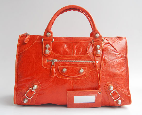 Balenciaga 084324A Orange Le Dix Motorcycle Handbag Large Size