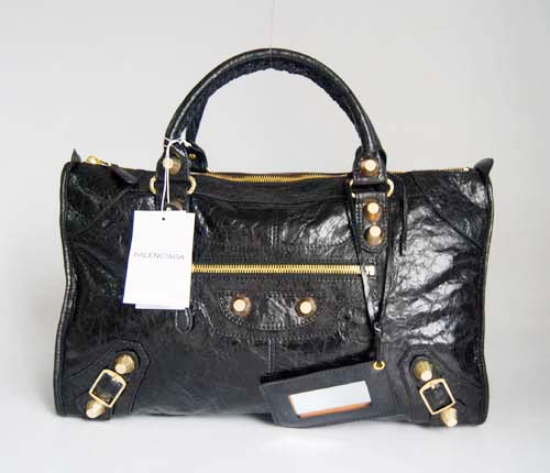 Balenciaga 084324B Black Le Dix Motorcycle Handbag Large Size With Gold Hardware