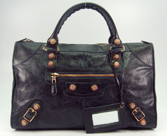 Balenciaga 084324B Dark Blue Le Dix Motorcycle Handbag Large Size