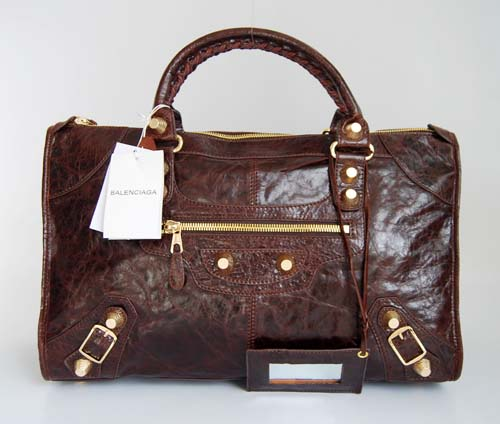 Balenciaga 084324B Dark Coffee Le Dix Motorcycle Handbag Large Size