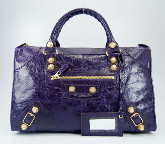 Balenciaga 084324B Dark Purple Le Dix Motorcycle Handbag Large Size