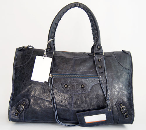 Balenciaga 084324 Dark Blue Le Dix Motorcycle Handbag Large Size