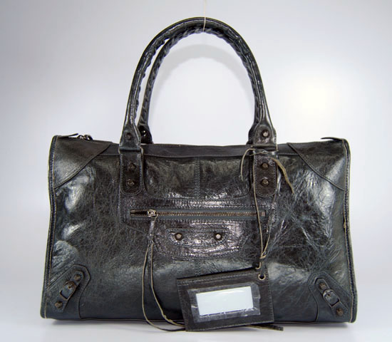 Balenciaga 084324 Dark Gray Le Dix Motorcycle Handbag Large Size