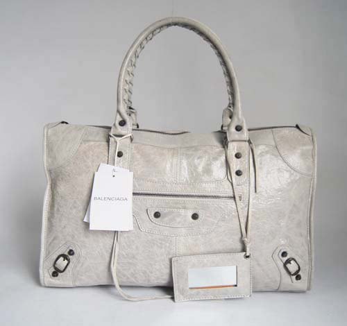 Balenciaga 084324 Light Gray Le Dix Motorcycle Handbag Large Size