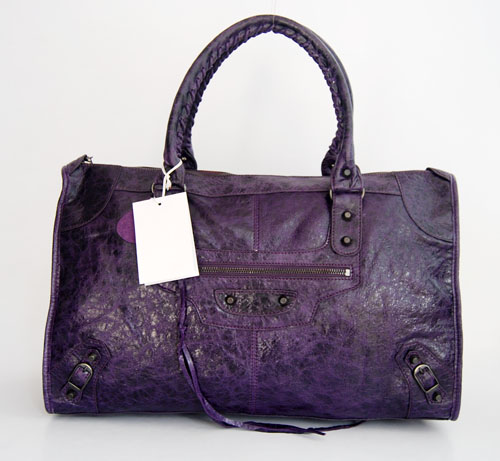 Balenciaga 084324 Purple Le Dix Motorcycle Handbag Large Size