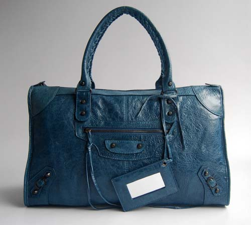 Balenciaga 084324 Royal Blue Le Dix Motorcycle Handbag Large Size