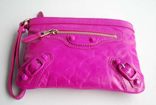 Balenciaga 084330 Plum colour Calfskin Clutch Bag