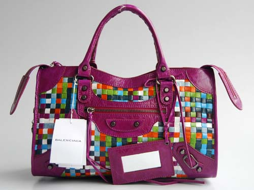 Balenciaga 084332-2 Medium Purple Multi-coloured Woven Bag