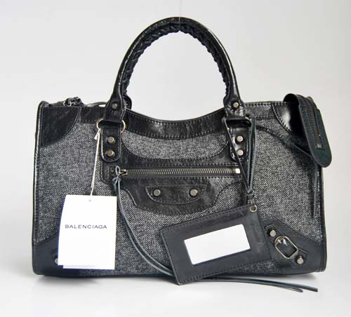 Balenciaga 084332-3 Black leather with cloth Woven Motorcycle City Bag
