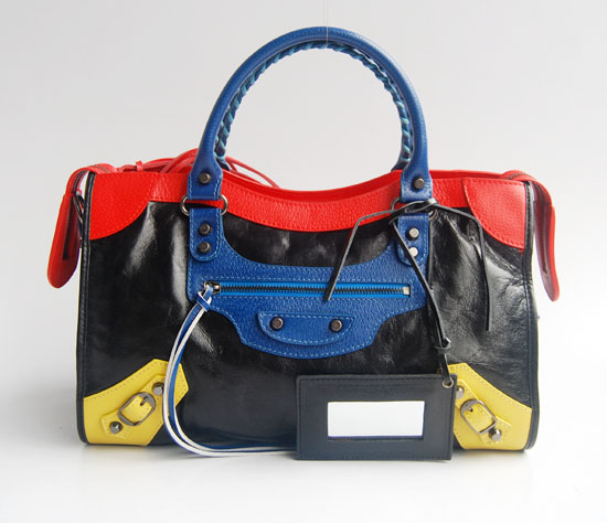 Balenciaga 084332-5 Black/Red/Blue Arena Tri-Color City Classic Handbag
