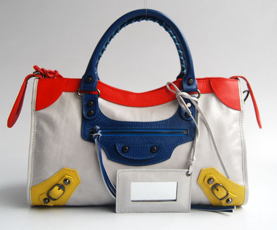 Balenciaga 084332-5 Offwhite/Red/Blue Arena Tri-Color City Classic Handbag
