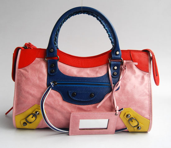 Balenciaga 084332-5 Pink/Red/Blue Arena Tri-Color City Classic Handbag