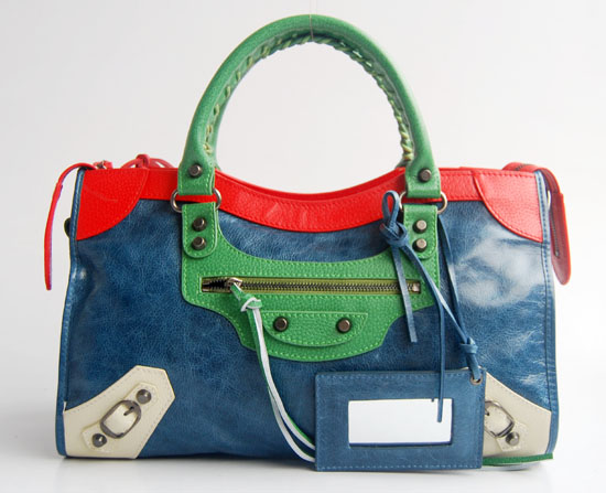 Balenciaga 084332-5 Royal Blue/Red Arena Tri-Color City Classic Handbag