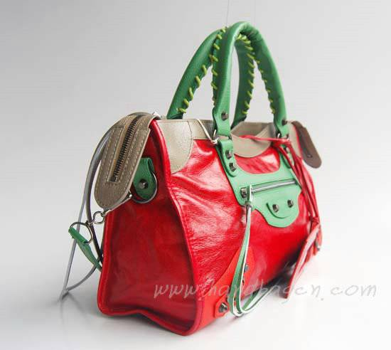 Balenciaga 084332-5 Red/Green/Grey Arena Tri-Color City Classic Handbag