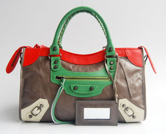Balenciaga 084332-5 Silver Grey/Red/Green Arena Tri-Color City Classic Handbag