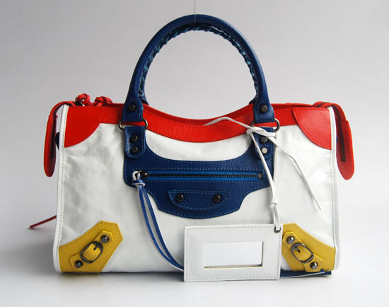 Balenciaga 084332-5 White/Red/Blue Arena Tri-Color City Classic Handbag
