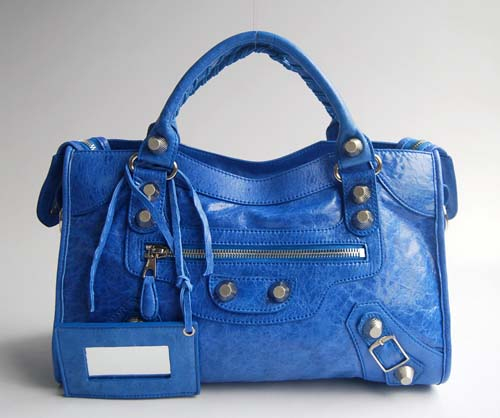 Balenciaga 084332A Blue Lambskin Giant City Bag Medium Size