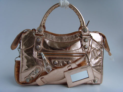 Balenciaga 084332A Red Bronze Giant City Handbag With Silver Hardware