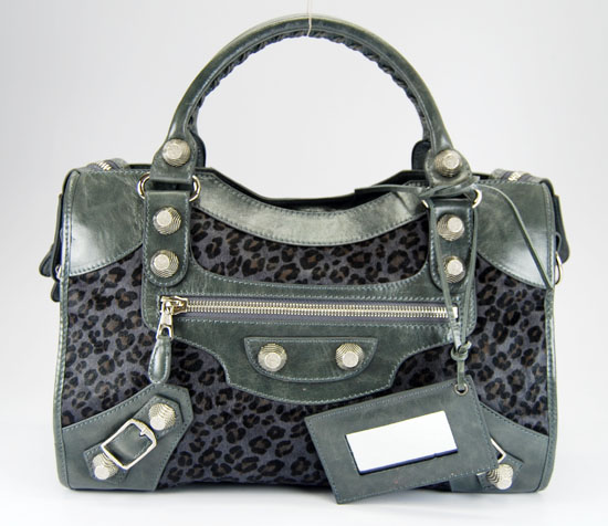 Balenciaga 084332A Dark Grey Leopard Horsehair Medium City Bag