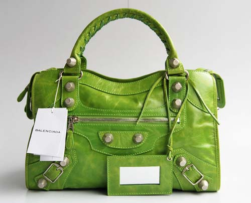 Balenciaga 084332A Green Giant City Handbag With Silver Hardware