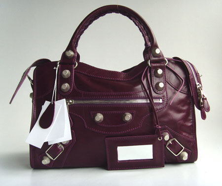 Balenciaga 084332A Purple Giant City Handbag with Silver Hardware
