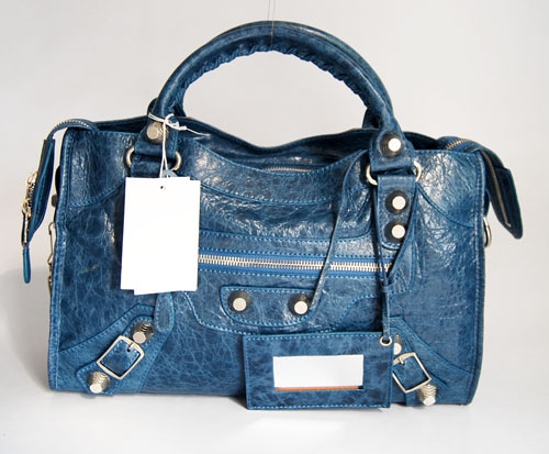 Balenciaga 084332A Royal blue Lambskin Giant City Bag Medium Size
