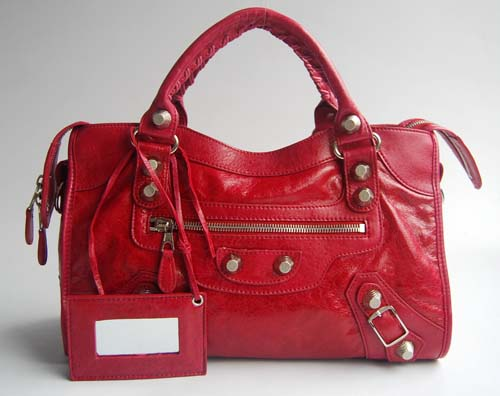 Balenciaga 084332A Red Lambskin Giant City Bag Medium Size