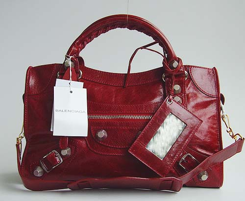 Balenciaga 084332A Red Giant City Handbag With Silver Hardware