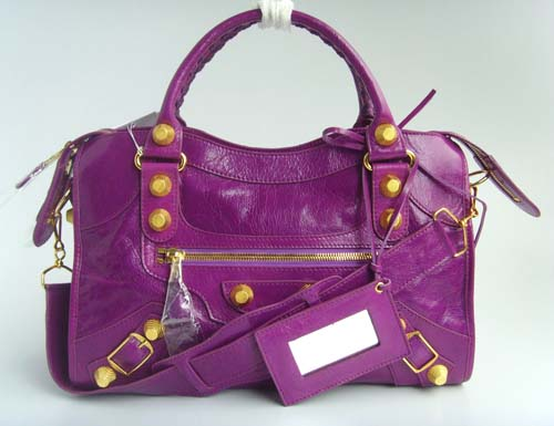 Balenciaga 084332B Purple Medium City Bag in 38CM