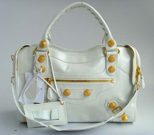 Balenciaga 084332B White Medium City Bag With 38CM