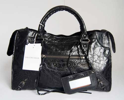 Balenciaga 084332 Black Lambskin Motorcycle City Bag Medium Size