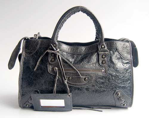 Balenciaga 084332 Dark Grey Motorcycle City Medium Lambskin Handbag