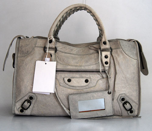 Balenciaga 084332 Light Grey Motorcycle City Medium Lambskin Handbag