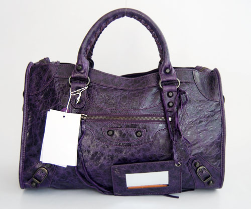 Balenciaga 084332 Purple Lambskin Motorcycle City Medium Handbag