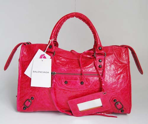 Balenciaga 084332 Peach Red Motorcycle City Medium Lambskin Handbag