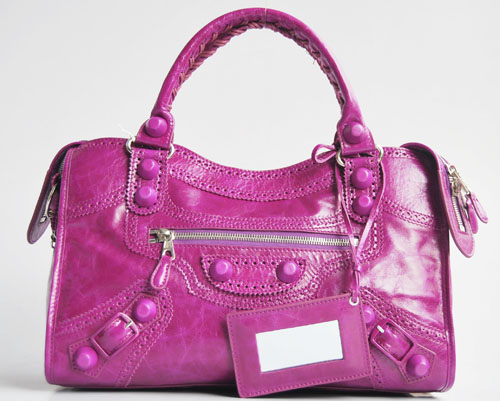 Balenciaga 084832 Medium Purple Motorcycle City Tote Bag