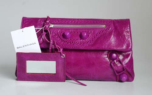 Balenciaga 084857 Purple Giant City Whipstitch Clutch Leather Bag