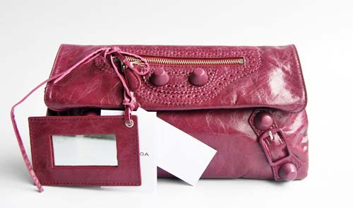 Balenciaga 084857 Purplish Red Giant City Whipstitch Clutch Leather Bag