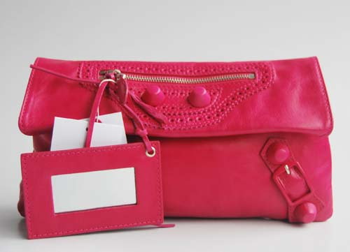 Balenciaga 084857 Pink Red Giant City Whipstitch Clutch Leather Bag