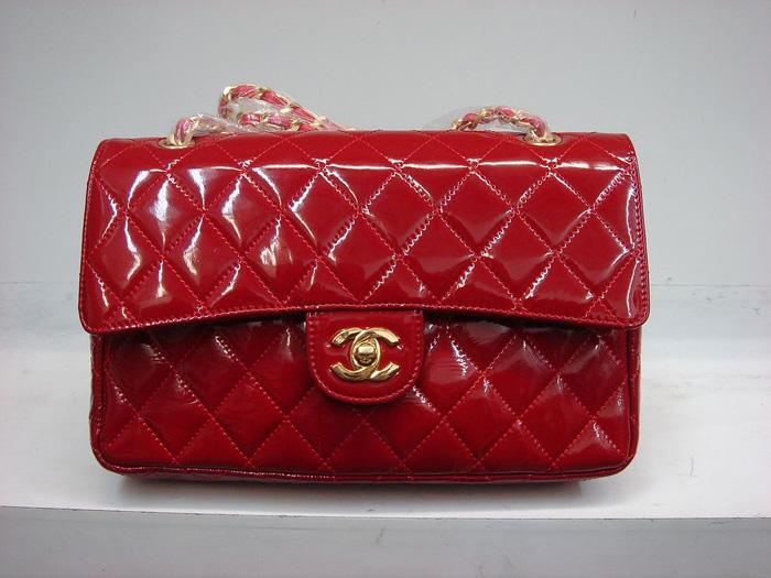 Chanel 1112 Classic 2.55 Replica Handbag Red Patent Leather With Gold Hardware