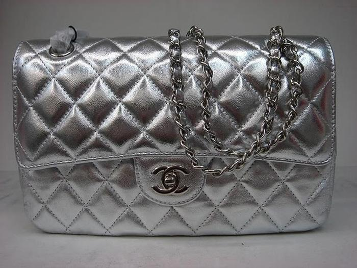 Chanel 1112 Classic 2.55 Replica Handbag Silver Lambskin Leather With Silver Hardware