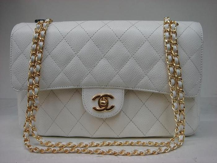 Chanel 1112 Classic 2.55 Replica Handbag White Genuine Cowhide Leather With Gold Hardwar