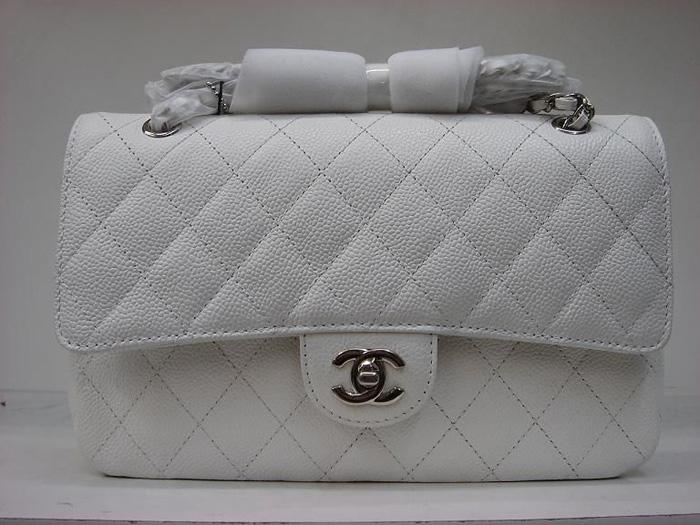 Chanel 1112 white cowhide Leather 2.55-Silver Hardware