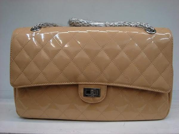 Chanel 1113 replica handbag Apricot patent leather with Silver hardware