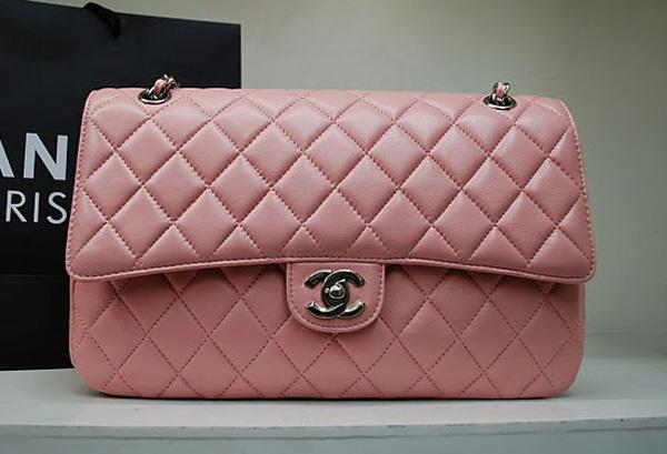 Chanel 1113 Pink lambskin leather handbag with Silver hardware