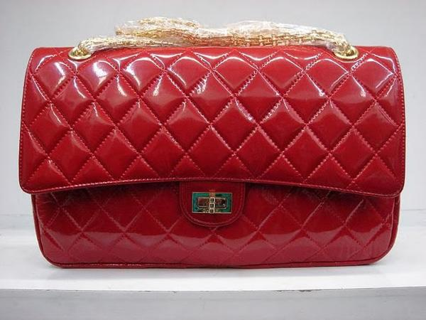 Chanel 1113 replica handbag Red patent leather with Gold