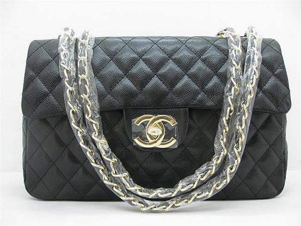 Chanel 1114 Black cowhide leather handbag with Gold hareware